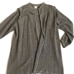 VINTAGE Krizia ITALY Long Wool Taupe Gray Tweed